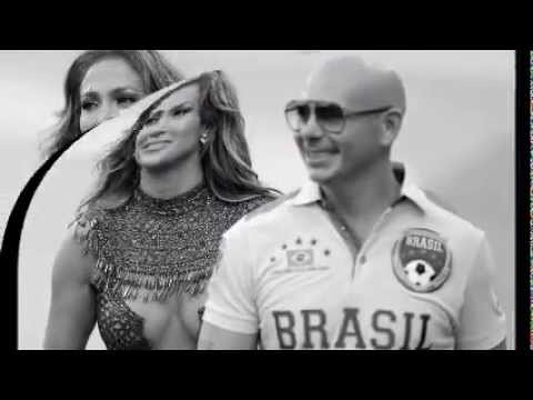 In the mood J LO, Leitte and Pitbull perform on the central stage in Sao Paulo ahead of the World Cu