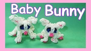 Rainbow Loom Easter BUNNY (Baby) Rabbit Charm Tutorial