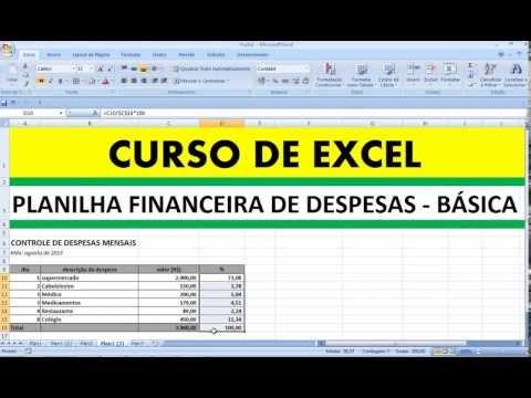 Curso de Excel PLANILHA FINANCEIRA DE DESPESAS BÁSICAS controle financeiro gastos pessoais