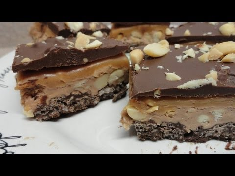 Four Layer Nougat Bars (peanut butter, caramel, chocolate!) Recipe - No Bake, This was found in a Better Homes and Gardens publication. Intro video sequence by Brent http://www.youtube.com/user/LazyCowFilms Music by Jason Shaw (Audiona...