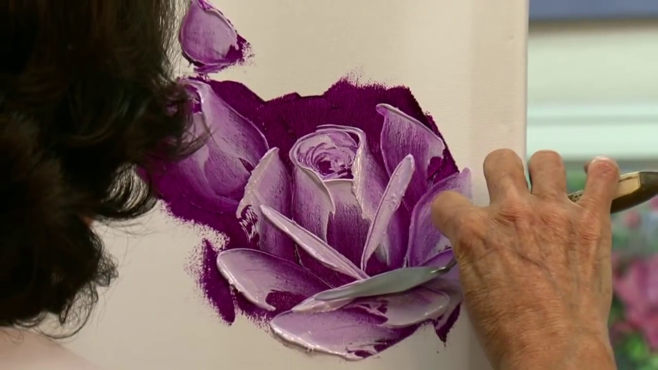 Painting roses in oil with a palette knife in 3 easy steps for How to paint a rose in watercolor step by step