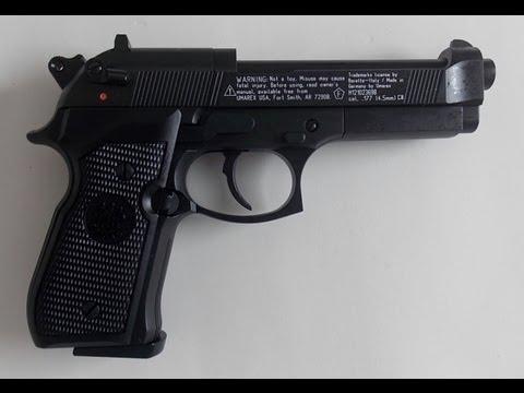 Pistola de co2 Beretta M92FS Preta semi-automática chumbinho 4,5mm
