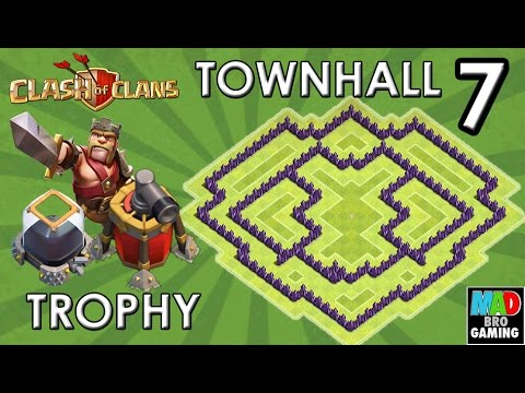 TH7 TROPHY Base (Without Barbarian King) with AIR SWEEPER - Clash of Clans 2015