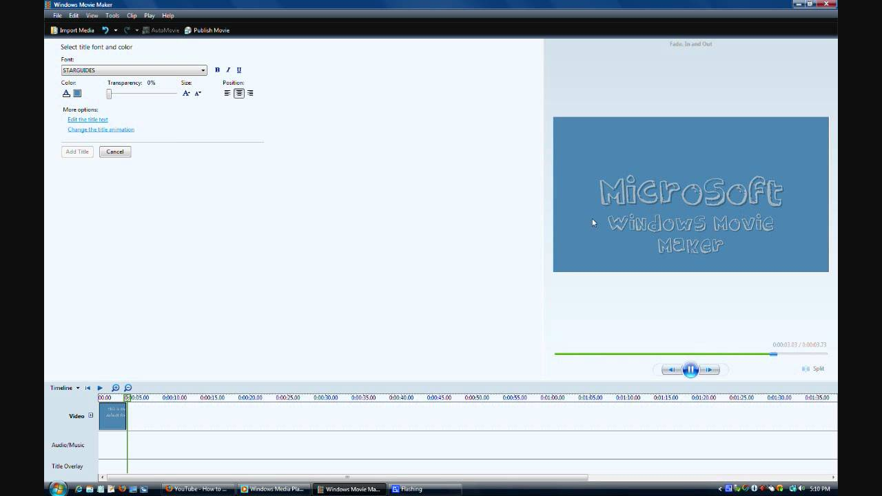 How to change the font in windows movie maker vista v6 0 youtube