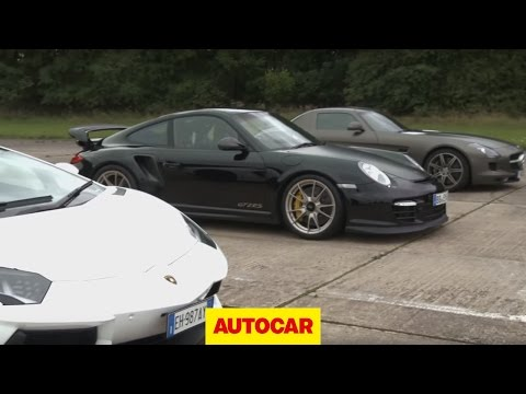 Lamborghini Aventador vs 911 GT2 RS vs Mercedes SLS, If the Lamborghini Aventador can live up to its performance claims, the 691bhp four-wheel drive supercar should easily beat the much cheaper Porsche 911 GT2 ...