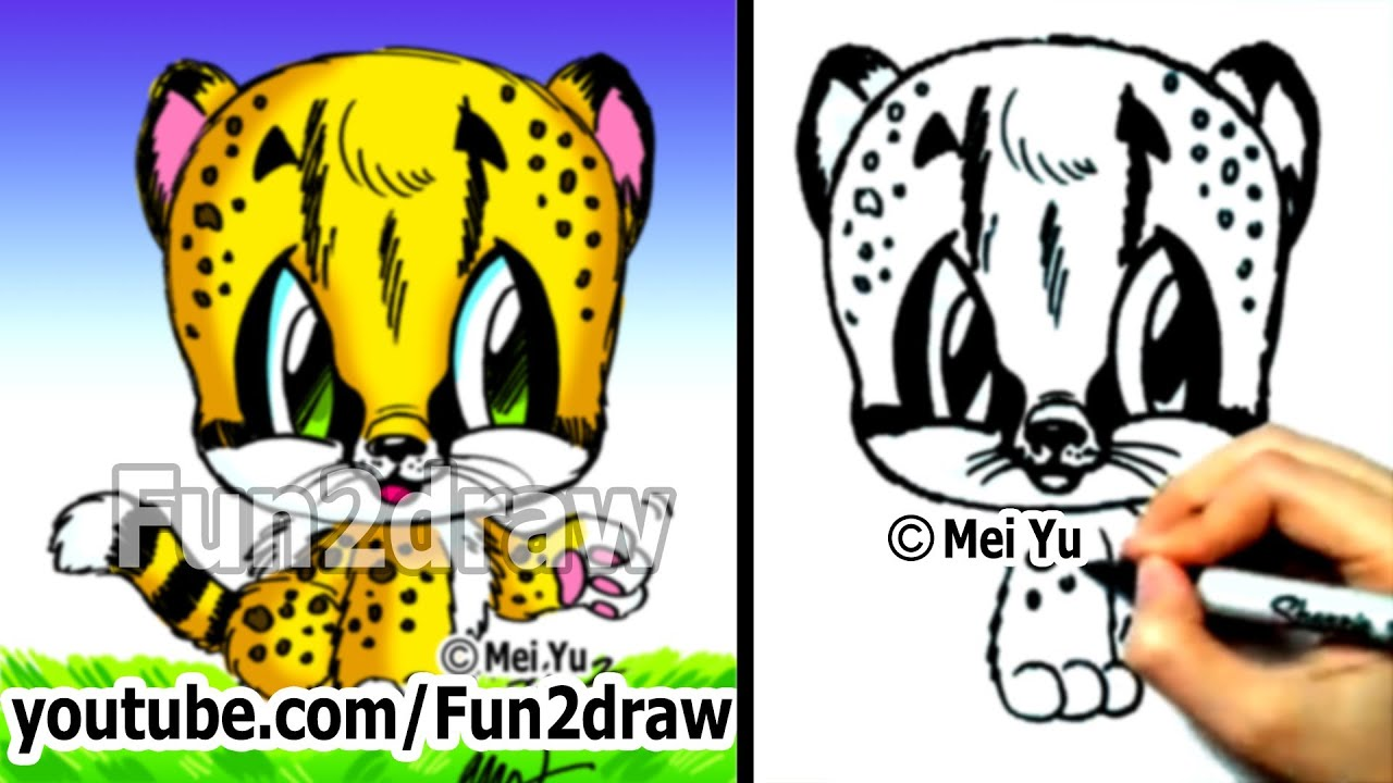 How to draw animals how to draw a baby cheetah cute for Fun to draw cute animals