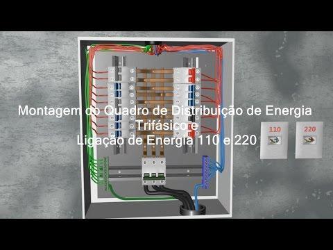 Como montar Quadro de distribuição de Energia Trifásico e ligar 110 e 220 Volts