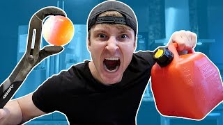 GIANT 1000 DEGREE METAL BALL vs GASOLINE EXPERIMENT (DANGER ALERT)