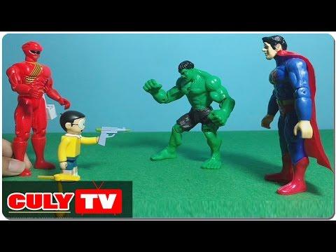 Nobita giúp siêu nhân gao đỏ bắt superman và hulk vượt ngục - đồ chơi doremon chế hài trẻ em