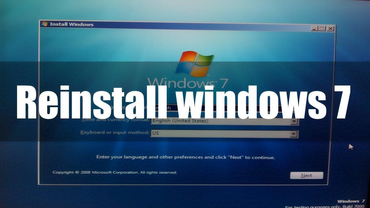 Format C drive(OS Drive) and Install Windows 7 - YouTube