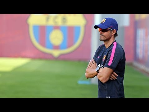 Luis Enrique holds first training session