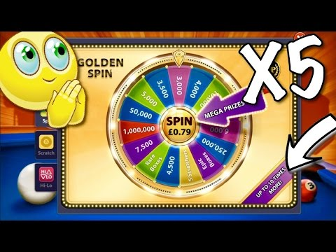 8 Ball Pool - SO LUCKY!! Opening 5 Golden Spin and Wins!   Trick Shots/Bank Shots [No Hack/Cheat]