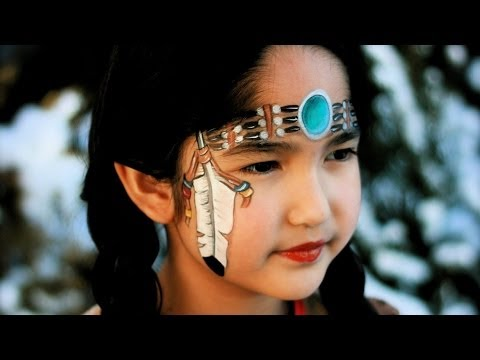 Indianerin schminken / Indianerin Kinderschminken Vorlage / Video Anleitung