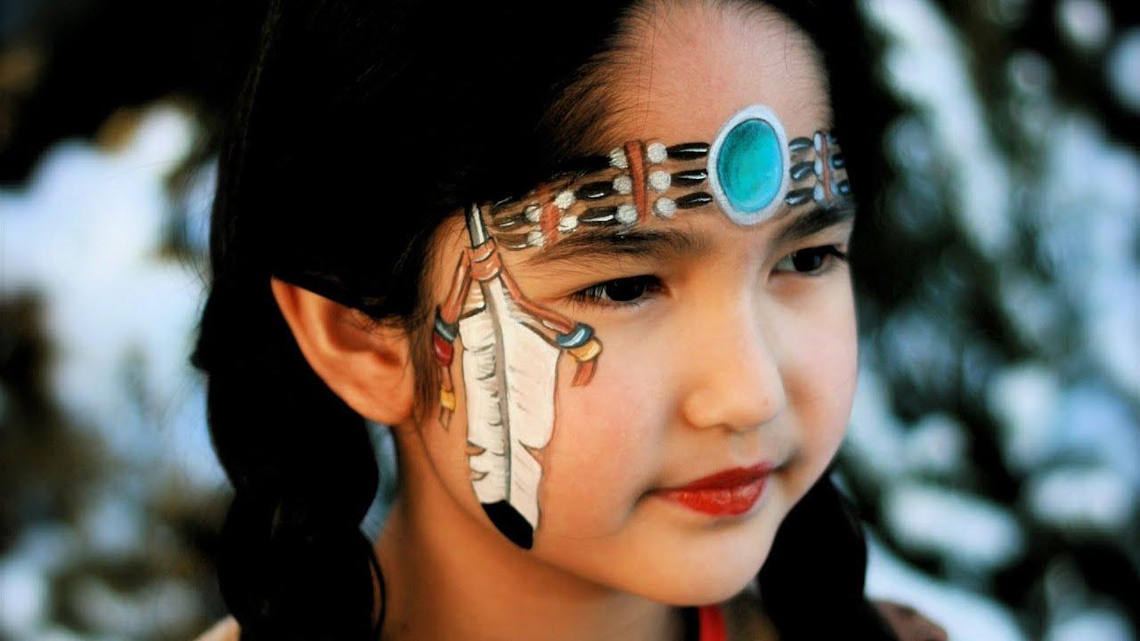 Indianerin schminken / Indianerin Kinderschminken Vorlage / Video ...