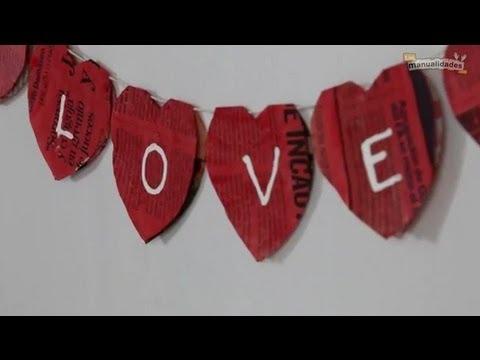 Adornos de san valent n guirnalda de corazones youtube - Corazones de san valentin ...