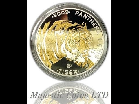 2009 Kazakhstan Proof Silver 100 Tenge Endangered Animal - Tiger