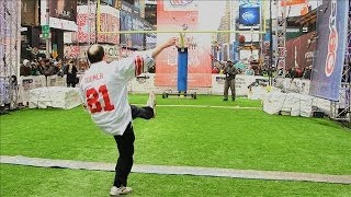 WSJ Live Team Kicks Times Square Field Goals | Super Bowl XLVIII
