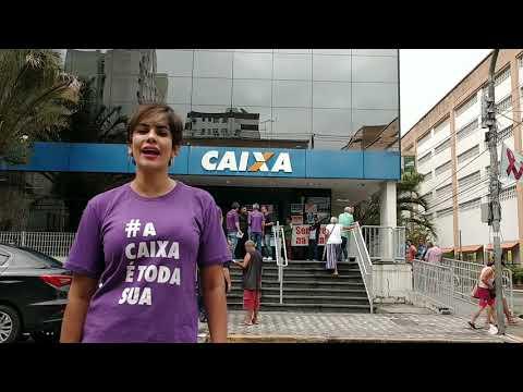 Sindicato protesta contra privatização da Caixa - fala da dirigente Larissa