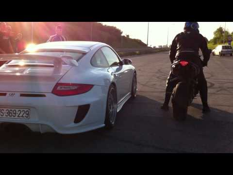 Porsche 9ff. 3.8. vs Yamaha R1 vs GSXR 1000 HD,