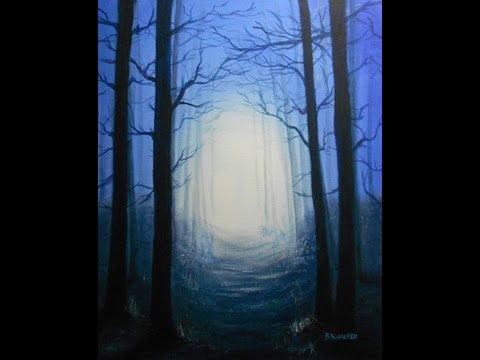 How To Paint A Twilight Forest Scene Painting Lessons By
