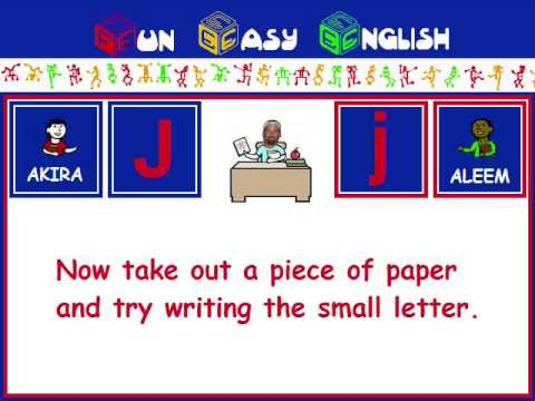 FunEasyEnglish.com Writing English Alphabet Kids Letter J