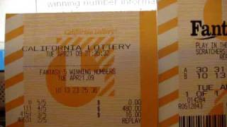 $480 California Lottery Fantasy 5 Winning Replay Lotto