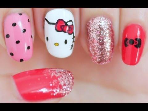 Hello Kitty Inspired Nail Tutorial