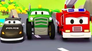 La Super Patrulla con el Tractor en Auto City | Autos y camiones dibujos animados para niños
