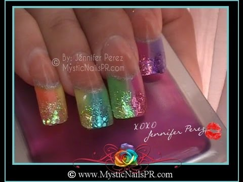 Uñas Acrílicas Arcoiris Veraniego con Brillo :::... Jennifer Perez of Mystic Nails ☆