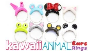 Kawaii Animal Ears Rings DIY Polymer Clay Jewelry Tutorial