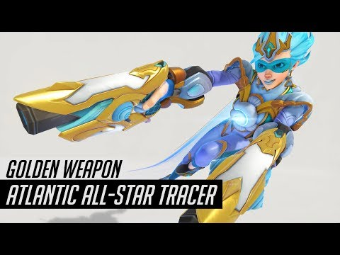 Overwatch | Golden Atlantic All-Star Tracer Skin Spotlight | All Cosmetics & Gameplay