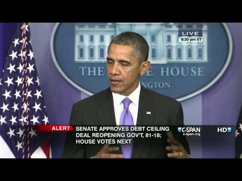 President Obama Statement on Debt Ceiling Deal Reopening Government (C-SPAN)
