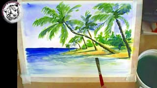 Como pintar con acuarela una playa tropical
