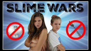 SLIME WARS: NO BOWLS, NO SPOONS || Taylor and Vanessa