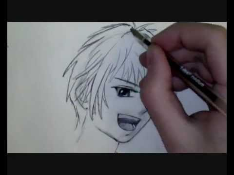 Comment dessiner un visage manga de gar on tutoriel youtube - Dessiner un manga facilement ...