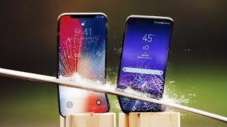 iPhone X vs Galaxy S8 Katana Scratch Test!