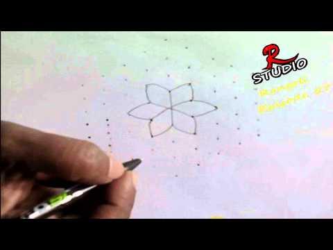 Learn 9x1 dots Rangoli design(Kolam) Episode 57