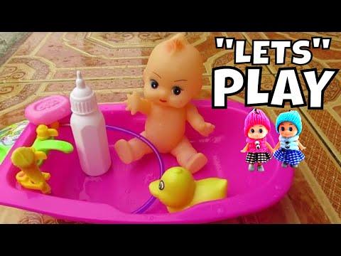 Mainan anak - bermain Adek-adekan Bayi Boneka Mandi Lucu @lifiatubeHD