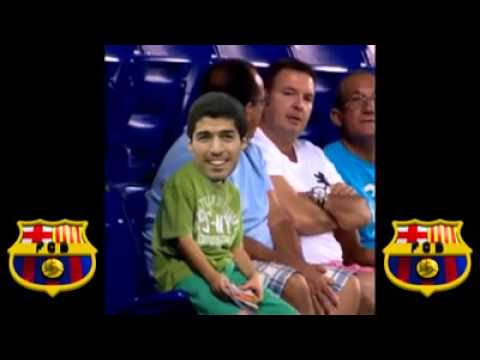 Suarez's reaction when he realises Barcelona still want him despite the ban !!!