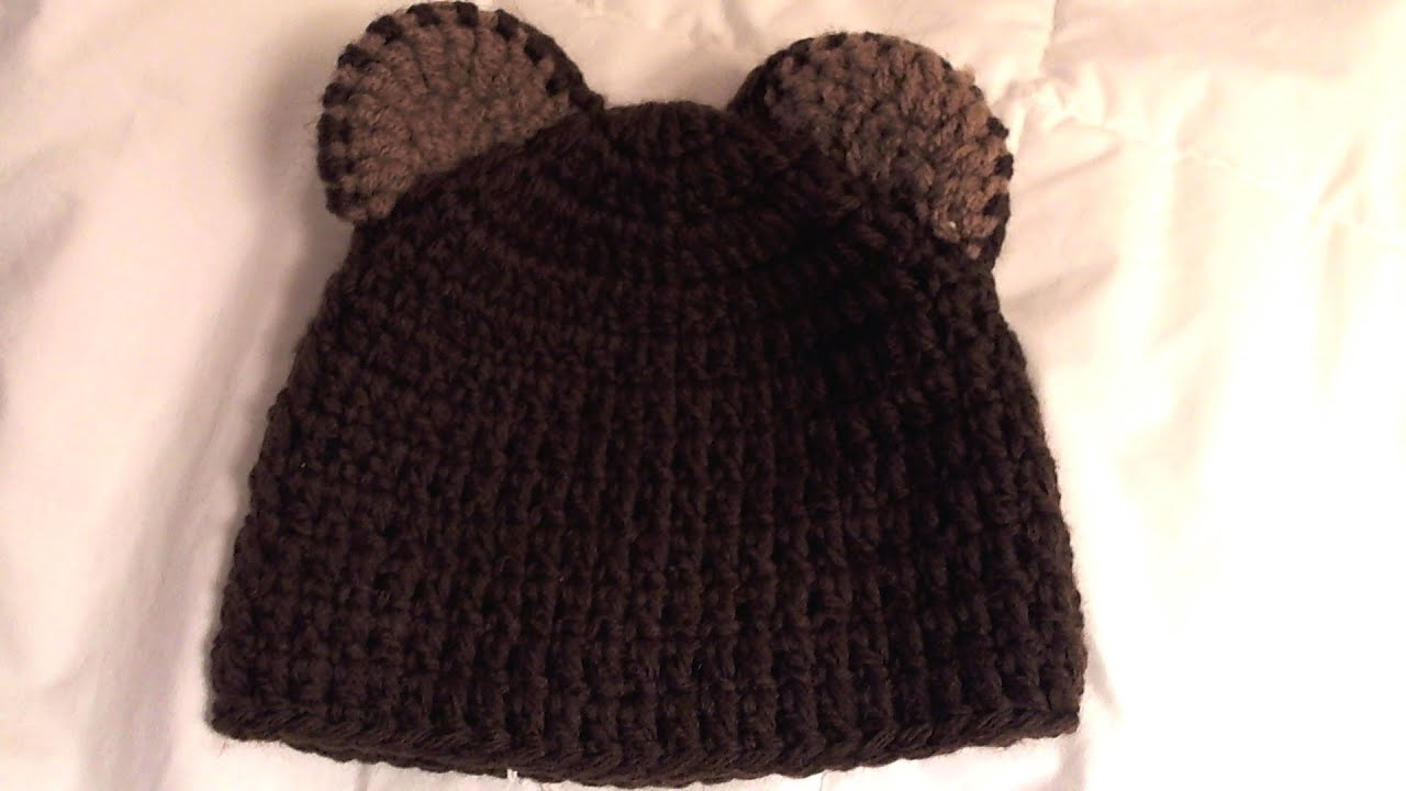 How to crochet bear beanie (video one) - YouTube