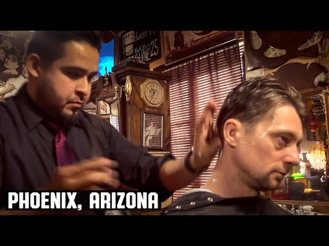 The Phoenix HairCut - HairCut Harry Experiences The House of Shave Barber Parlor, Phoenix Arizona.