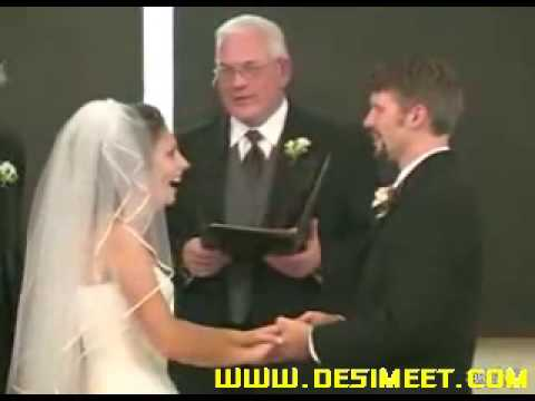 Bride laughing like hell during vows