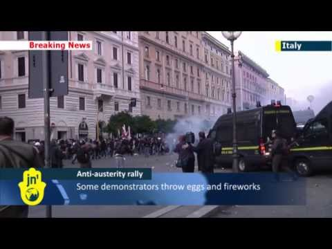 Rome Anti-Austerity Protest: Demonstrators clash with police in Italian capital