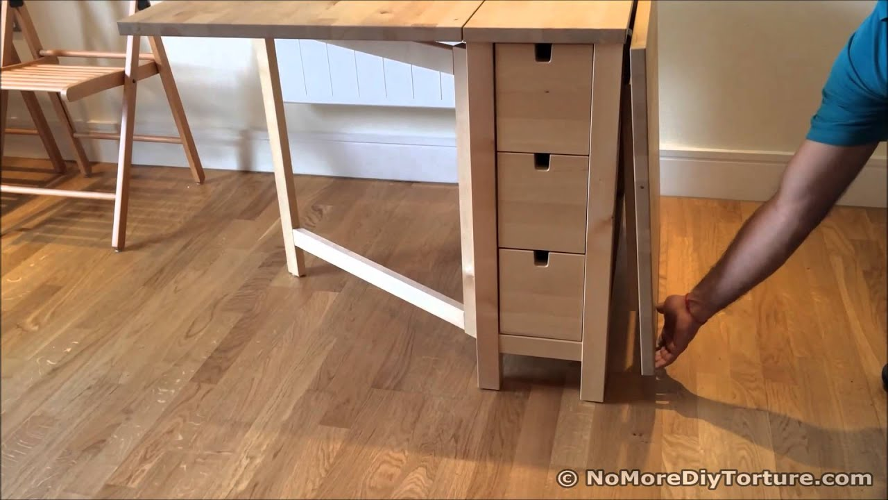 folding table ikea norden dining table youtube. Black Bedroom Furniture Sets. Home Design Ideas