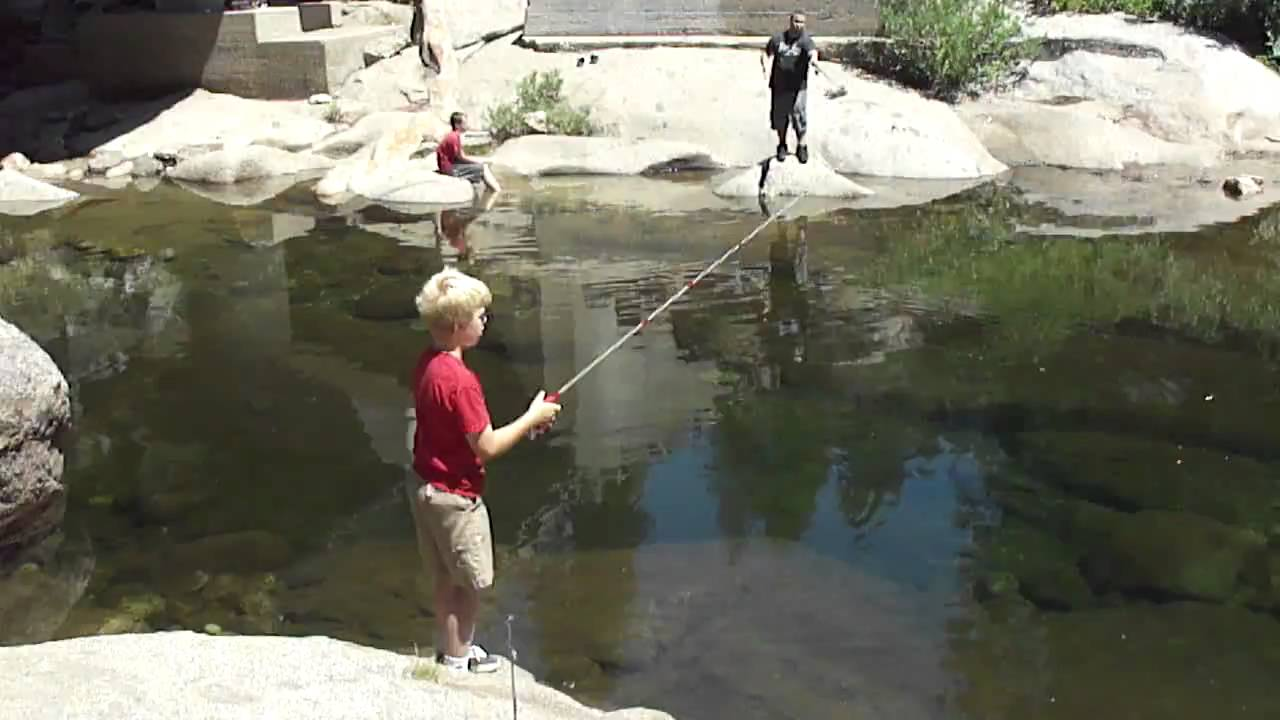 Chris fishing dinkey creek youtube for Fishing license for disabled person