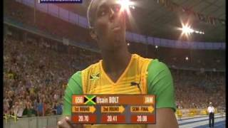 Usain Bolt 200m world record: 19.19!!! (+ Michael Johnson's reaction)