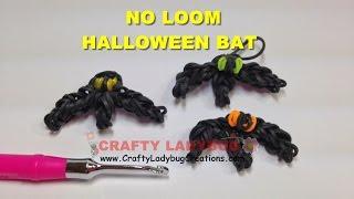 Rainbow Loom Bands NO LOOM HALLOWEEN BAT EASY Charm