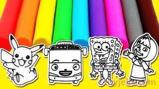Learn Colors Play Doh Pikachu Tayo Sponge Bob Marsha and the bear Fun and Creative for Kids
