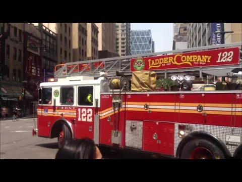 FDNY Ladder 122 Responding From 4 Truck Fire Station In Midtown Manhattan