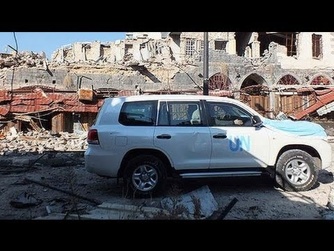 UN AID CONVOY Fails to Deliver Food and Medicine Due to MORTOR FIRE in HOMS